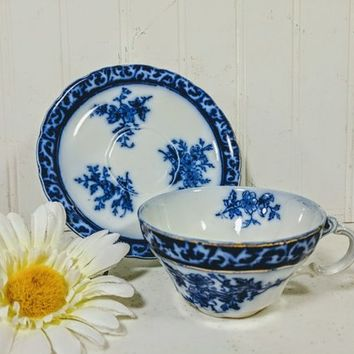 Flow Blue Cup and Saucer Set Touraine Pattern Henry Alcock & Co. England Porcelain Teacup + Plate Antique Blue White China Cottage Chic Set