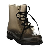 Chemistry Women's Ankle Flat Lace up Transparent Grey Clear Rain Boots