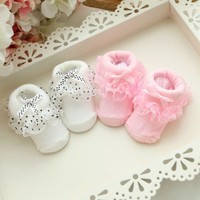 Princess Baby Girls Toddlers Lace Ruffle Frilly Non-slip Cotton Ankle Socks SL07