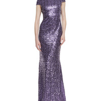 Women's Cap-Sleeve Cowl-Back Sequined Gown, Lilac - Badgley Mischka Collection - Lilac