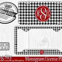 Monogrammed License Plate Frame Holder Metal Car Front Tags Personalized Custom Vanity Plate Black Houndstooth Check