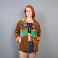 70s Patchwork Corduroy JACKET / Night Forest Tiny Fit with HOOD, xs-s