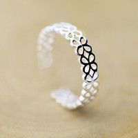Cute 925 Silver Hollow Out Lace Ring+ Gift Box