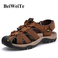 BeiWeiTe Summer Men's Outdoor Beach Sandals Closed Toe Anti-collision Fishing Shoes Man Genuine Leather Breathable Walking Shoes