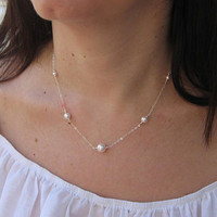 Swarovski Pearl Necklace, White Pearl Necklace, 14k Gold Filled or Sterling Silver, Bridal Jewelry, June Birthstone, Bridesmaid Necklace