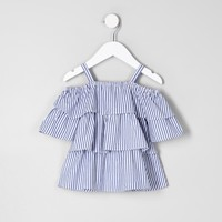 Mini girls blue frill cold shoulder top - Baby Girls Tops - Mini Girls - girls