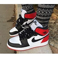 Nike Air Jordan 1 stitching fashion men's and women's casual sports high-top shoes