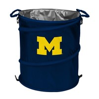 MICHIGAN WOLVERINES COLLAPSIBLE 3-IN-1 TRASH CAN COOLER HAMPER BRAND NEW