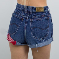 Vintage (Size XS) 80s Lee Distressed High Waisted Denim Shorts