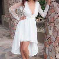 A Fairy Tale White Long Sleeve Lace High Low Dress