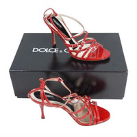 Dolce & Gabbana NWB Red Patent Leather Strappy High Heel Sandals Shoes Size 37.5