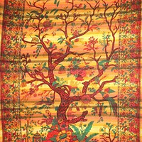 Handmade Cotton Tree of Life Overprint Striped Tapestry Spread Throw Yellow Full
