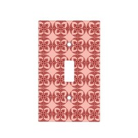 Geometric Floral in Peach and Red Light Switch Cover