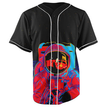Space Swag Astronaut Black Button Up Baseball Jersey