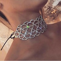 Lux Lalynnly Rhinstone Choker Necklace