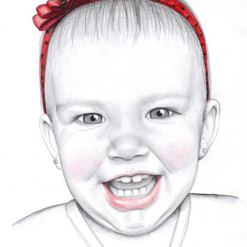 "Custom made pencil portrait. 11x14"" Children's portrait. Art with a cause. Personalized drawing. Kid's drawing. Custom gift."