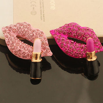 1pcs Bling lips cabochon makeup decoden kiss mark Kawaii phone case deco metal hot pink / jewelry making / DIY cell phone case decoration