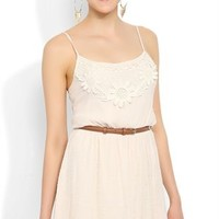 A Line Dress with Daisy Crochet Bodice and Belt at Waist