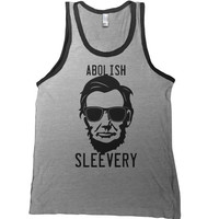 Abolish Sleevery Mens Tank Top - man muscle t shirt abe lincoln workout beer funny  tshirt college bar tee