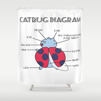 Catbug Diagram Shower Curtain by PFKimmerle