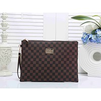 LV Louis Vuitton Popular Classic Women Men Office Bag Leather Handbag Wrist Bag Purse Wallet Coffee I-KSPJ-BBDL