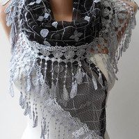 Black and Grey Laced Scarf with Grey Trim Edge  - Speacial Laced Fabric - Triangular..