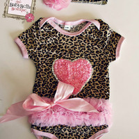 Leopard pink tutu Onesuits  Baby  Onesuit and headband Set, ,Girl romper.