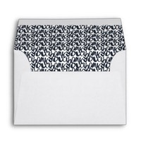 Navy Blue Thank You Script Pattern Lined Envelope