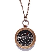 Small Antiqued Compass Necklace (Functional)