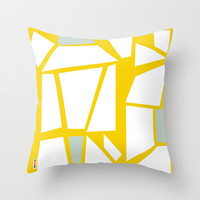 Geometric throw pillow - Abstract pillow cover - Art pillow cover - yellow and white pillow - Modern pillow case - Artistic cushion cover
