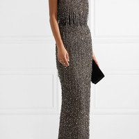 Naeem Khan - Guipure lace-trimmed embellished tulle gown