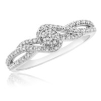 Sterling Silver 0.09 Cttw Diamond Ladies Promise Ring