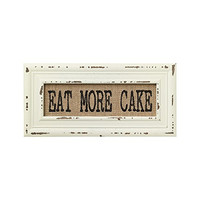Vintage Bistro Burlap Printed Framed Wall Decor for Kitchen Dining Restaurant (Eat More Cake)
