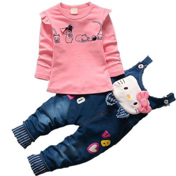 Trendy Baby Girls Hello Kitty Clothing Sets Children Denim overalls Bow Jeans Pants T Shirt Twinset Kids Minnie Tops Tees Clothes Set AT_94_13