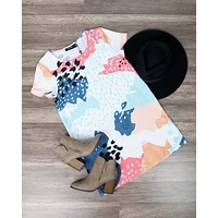 Final Sale - MINKPINK - Coral Sea Abstract Tee Dress in Multi