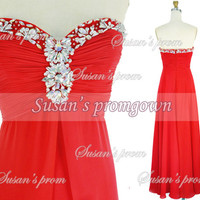 2014 Prom With Draped Beads Red Chiffon Dresses, Prom Dress,Evening Dress,Wedding gown,Party Dress