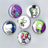 "Invader Zim One Inch Pin Back Pinback Button Badge 1"" Set of 6 Six Zim Gir Dib"
