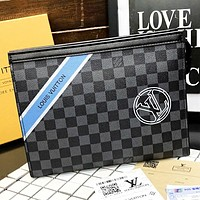 LV Louis Vuitton  New fashion tartan monogram print leather couple clutch bag file package cosmetic bag handbag