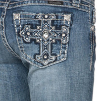 Miss Me MK 205 Bling Cross Signature-Rise Bootcut Jeans