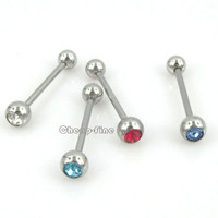 4pc Silver Tone Stainless Steel Rhinestone Industrial Bar Tongue Ring Barbell