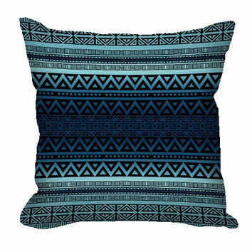 Tribal Pattern Throw Pillow in blue ombre