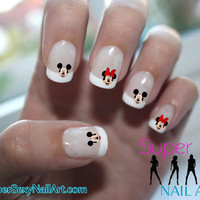 Mickey Mouse & Minnie Mouse Head Disney Nail Art Water Transfer Decal - Waterslide Paper - Water Slide Paper
