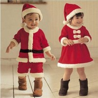 XH-045 2017 boy and girl suit 2 piece bebe suits fleece lining outfits newborn babies christmas new year clothes kids clothes