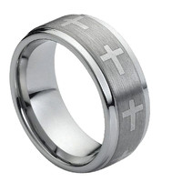Tungsten Carbide Wide Brushed Cross Ring 9MM