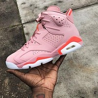 Bunchsun Air Jordan 6 Retro Pink Trending Women Sport Running Basketball Shoes Sneakers