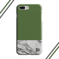 Green Kale x Grey Marble Two Toned Phone Case, iPhone 7, iPhone 7 Plus, Tough iPhone Case, Galaxy S7, Samsung Galaxy Case, CASE ESCAPE