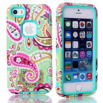MagicSky Plastic + TPU Paisley Flower Pattern Tuff Dual Layer Hybrid Armor Case for Apple iPhone 5C - 1 Pack - Retail Packaging - Cyan