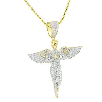 Praying Angel Pendant Chain Gold On Sterling Silver