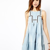 One Teaspoon Poppy Dress in Chambray with Braid Details