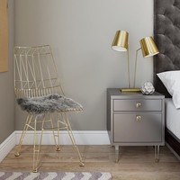ALLURE GOLD STEEL CHAIR WITH GREY SHEEPSKIN SEAT-SET OF 2